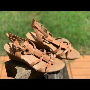Camel Franco Sarto wedge sandals